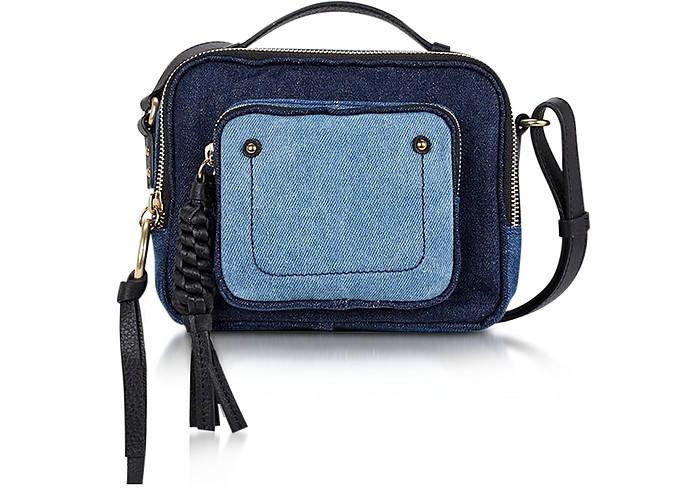 Patti Denim and Black Leather Crossbody Bag - See by Chloé
