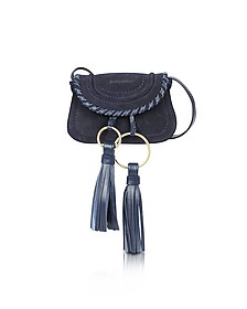Polly Ultramarine Suede & Leather Mini Crossbody Bag w/Tassels - See by Chloé