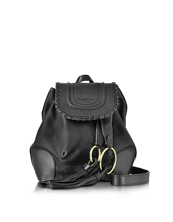 Polly Black Leather Backpack w/Tassels