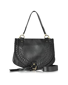 Collins Black Braided Leather Shoulder Bag w/Tassels - See by Chloé