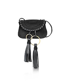 Polly Black Suede & Leather Mini Crossbody Bag w/Tassels - See by Chloé