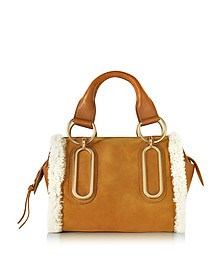 Paige Hazel Suede and Leather Satchel Bag w/Eco Shearling Detail - See by Chloé