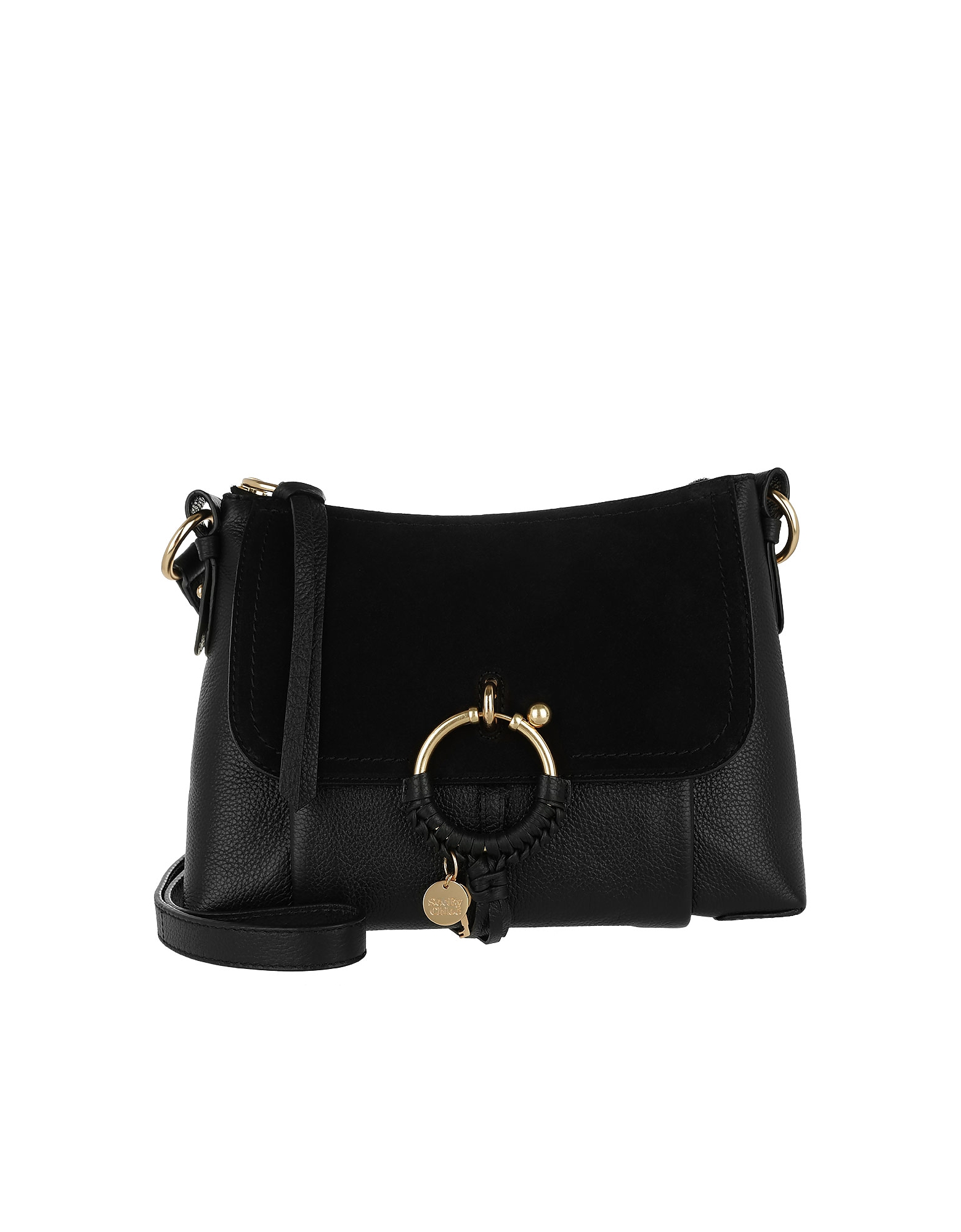 Joan Grained Shoulder Bag Leather Black
