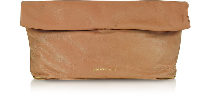 Leather Roll-Over Clutch - See by Chloé