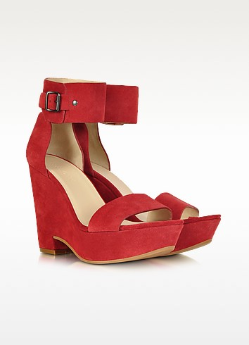 Eva Red Suede Wedge Sandal - See by Chloé