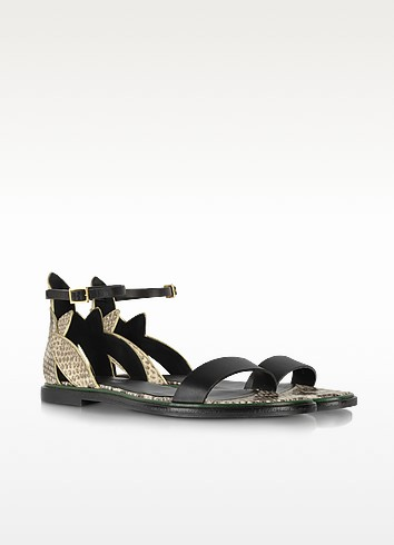 Animal Print Leather Flat Sandals - See by Chloé