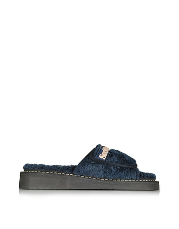 See by Chlo - Sugar Blue Signature Fabric Flat Slide