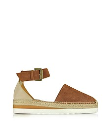 Tan Suede Flat Sandal Espadrilles - See by Chloé