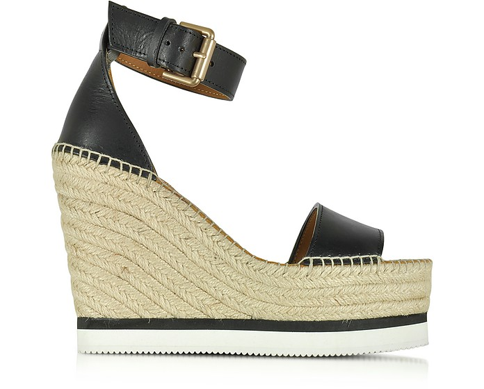 Black Leather Wedge Espadrilles Sandal - See by Chloé