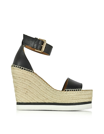 Black Leather Wedge Espadrilles Sandal