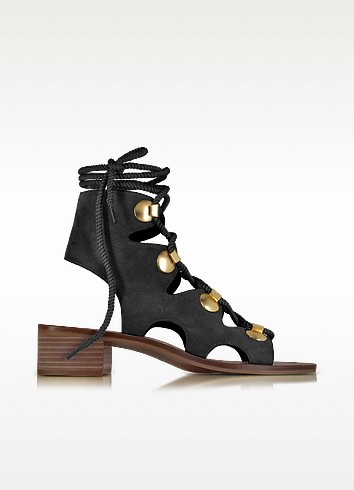 Black Suede Lace Up Flat Sandal Shoe - See by Chloé