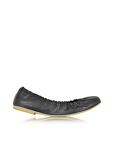 Elastic Trim Black Leather Ballerina - See by Chloé
