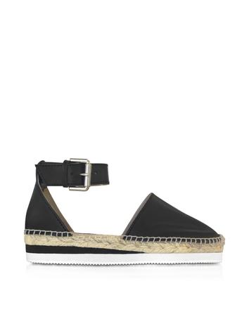 See By Chloé Black Leather Espadrille w/Ankle Strap