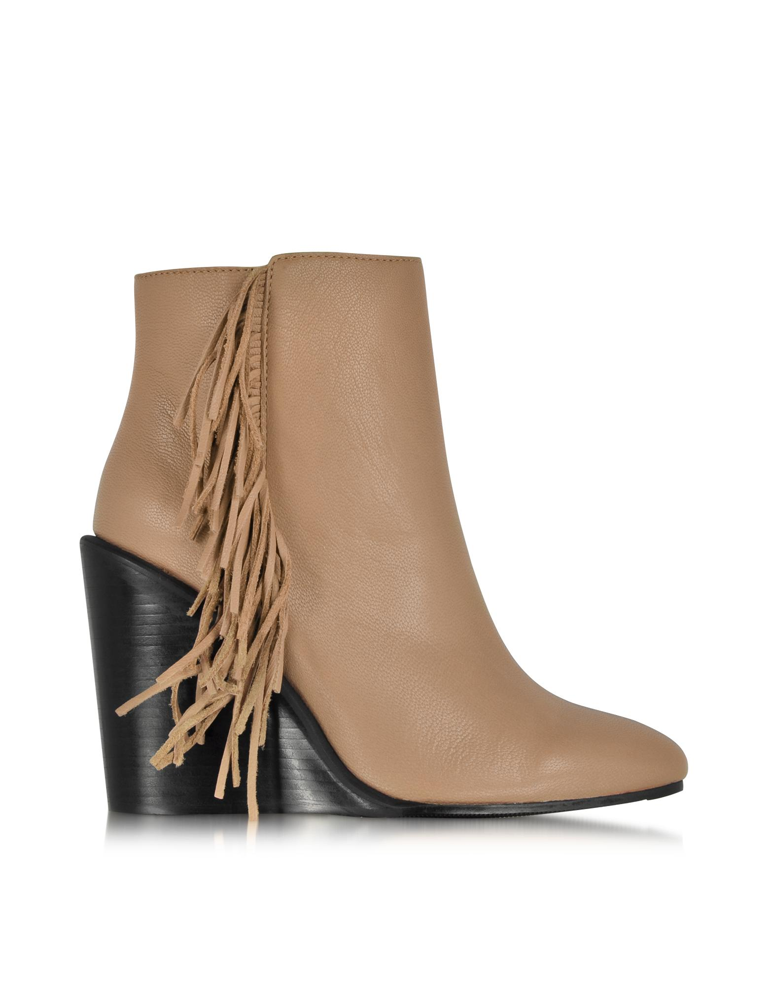 Rex Biscuit Leather Wedge Ankle Bootie w/Fringe - See by Chloé