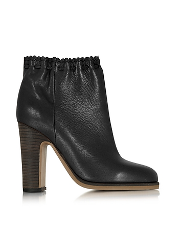 Jane Black Leather Ankle Boot