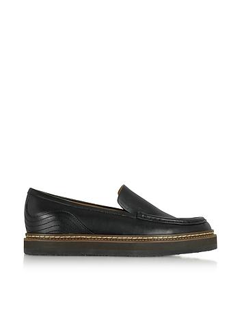 Black Leather Platform Loafer