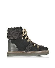 Dark Brown and Black Suede Boot w/Shearling Detail - See by Chloé