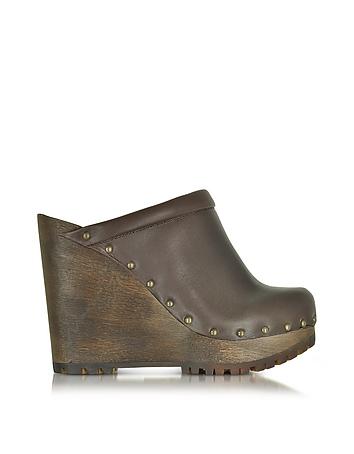 See by Chlo - Dark Brown Leather Wedge Mule