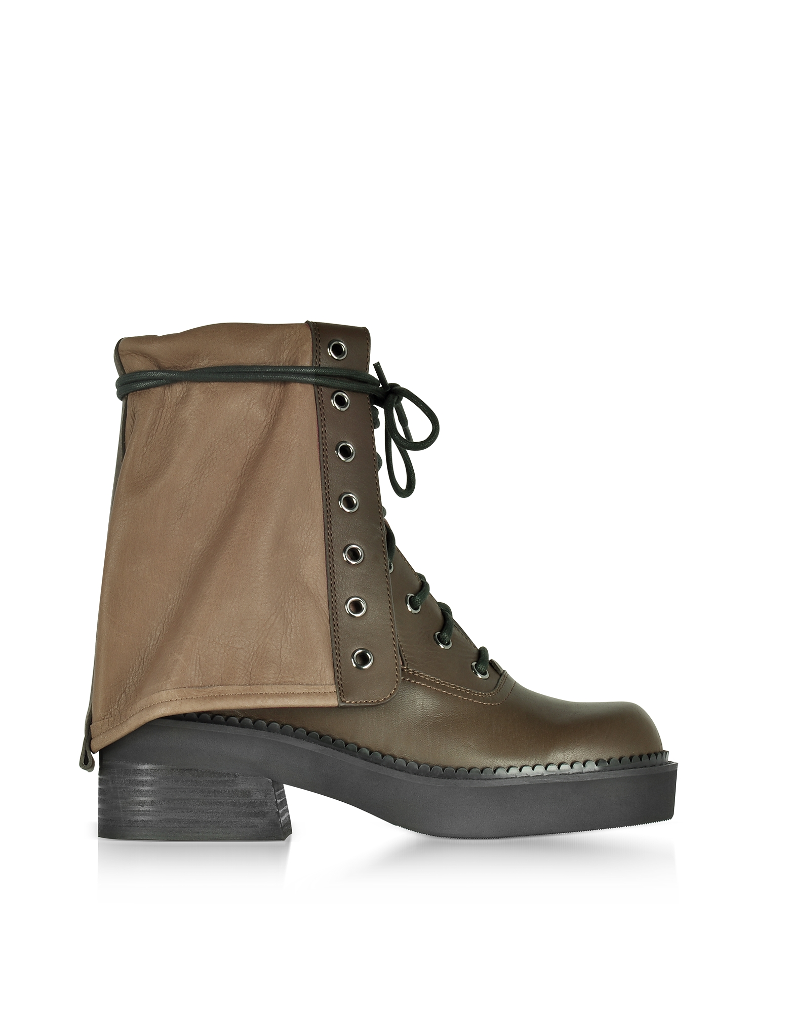 See by Chloe Kaki Calf Leather Combat Boots