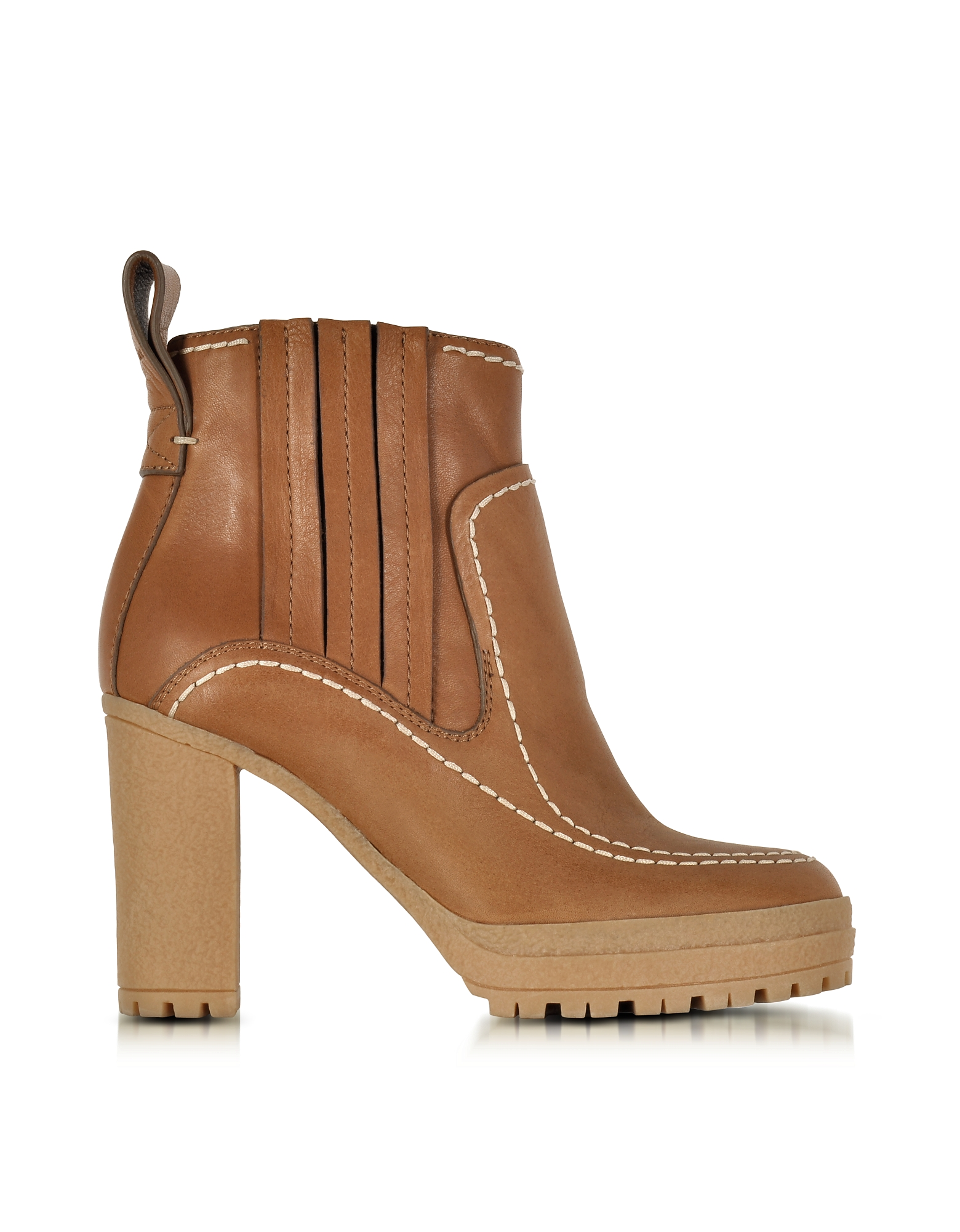 See by Chloé Shoes, Cuoio Leather High Heel Ankle Boots