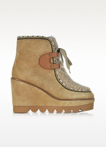 Suede and Curly Shearling Wedge Boots - See by Chloé