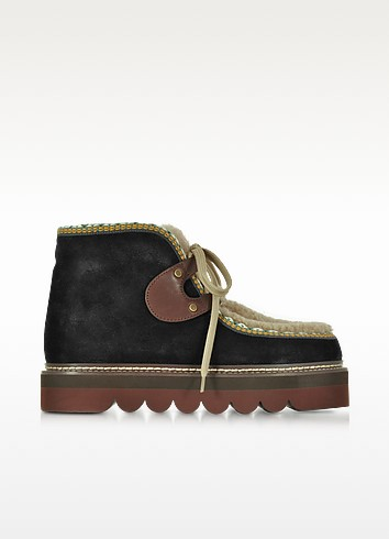 Black Suede and Shearling Booties - See by Chloé