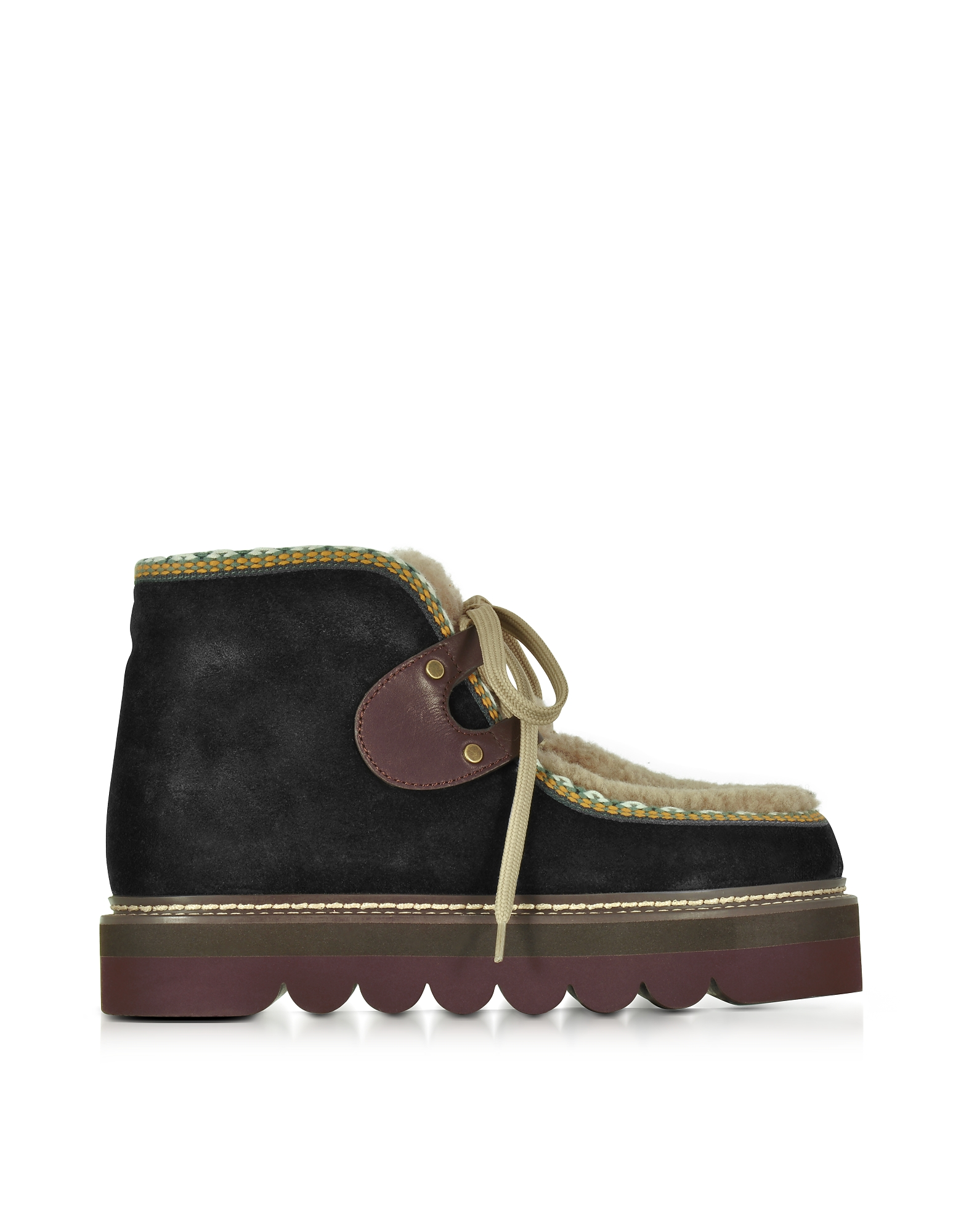 See by Chloe Black Suede and Shearling Booties