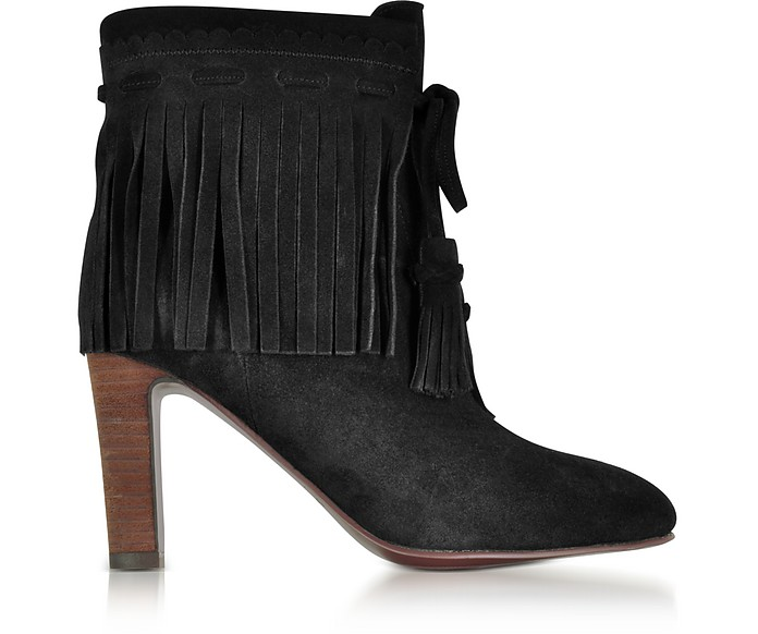 Black Suede Fringed High Heels Booties - See by Chloé