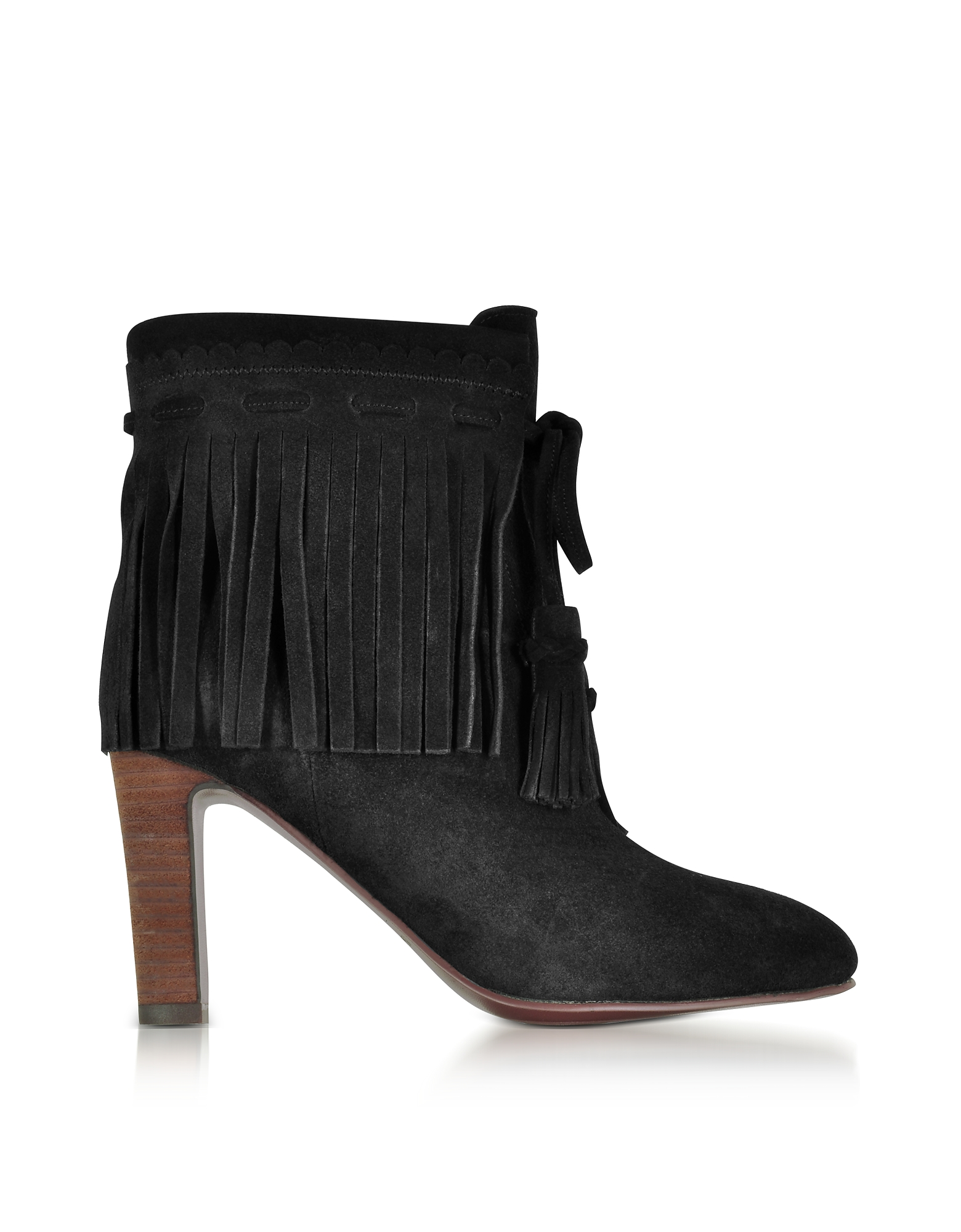 See by Chloé Shoes, Black Suede Fringed High Heels Booties