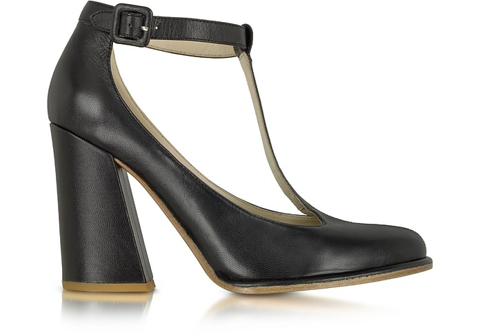 Black Leather T-bar Pump - See by Chloé