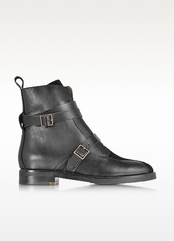 Black Leather and Suede Boot - See by Chloé