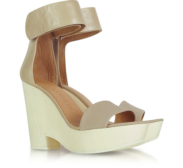 Leather and Canvas Wedge - See by Chloé