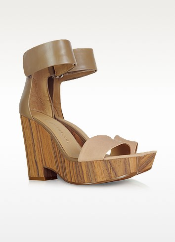Leather and Canvas Wedge Sandals - See by Chloé