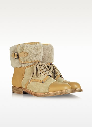 Shearling and Leather Lace Up Boot - See by Chloé