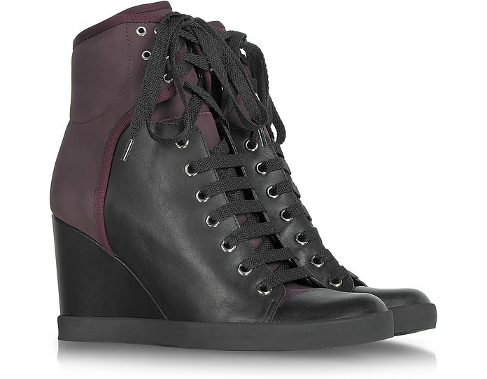 Black and Burgundy Lace up Wedge Bootie - See by Chloé