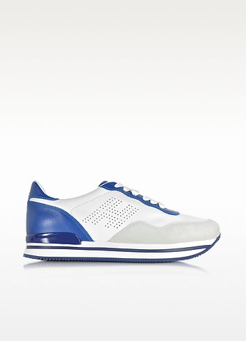 H 222 White and Blue Leather Sneaker - Hogan