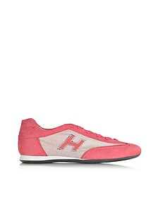 Olympia Pink Suede and Fabric Sneaker - Hogan