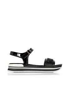 Black Fabric and Patent Leather Sandal - Hogan