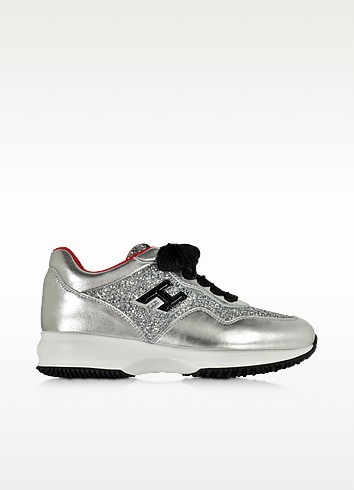 Hogan Club Silver Leather and Glitter Wedge Sneakers - Hogan