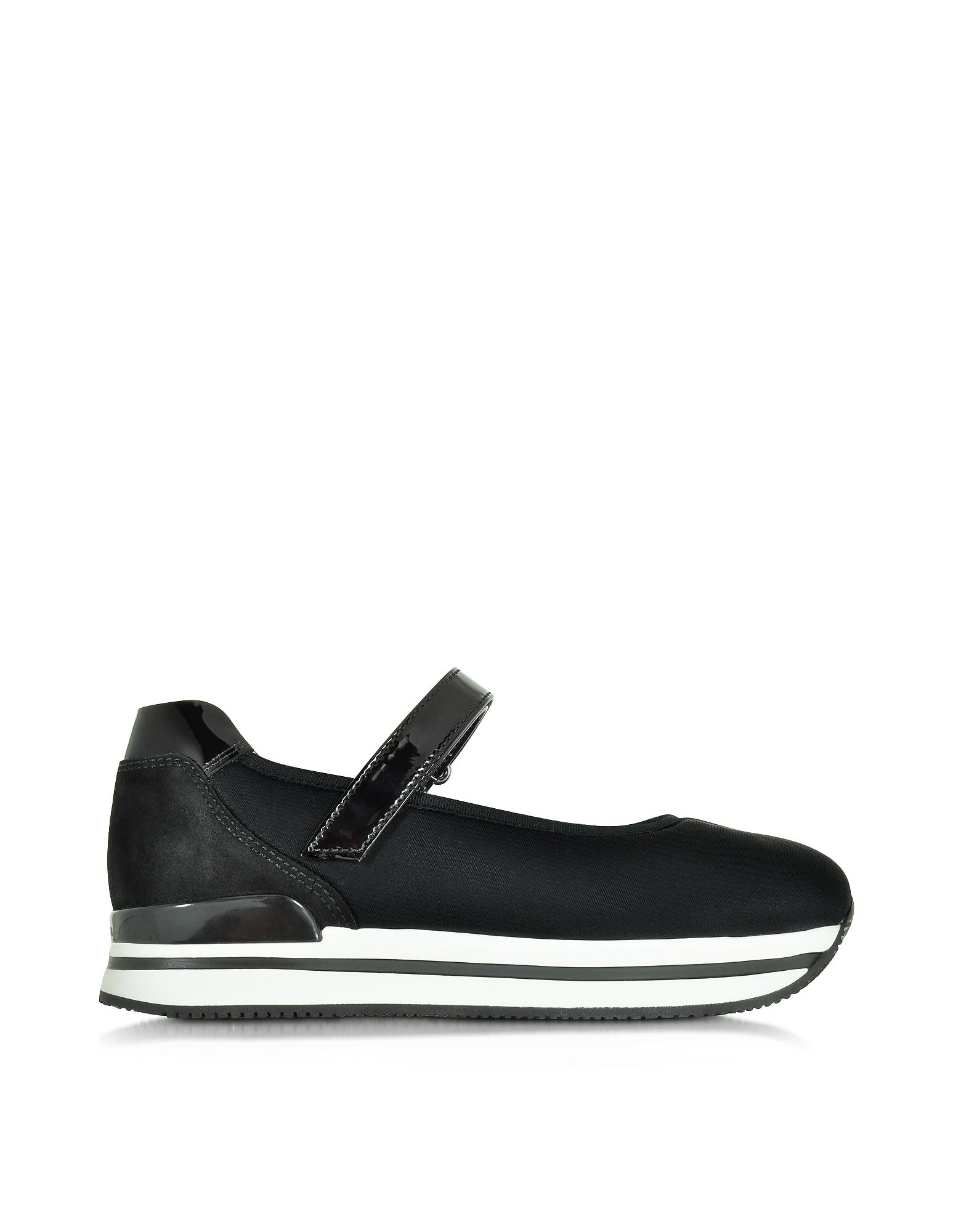 H222 - Черные Туфли из Ткани и Кожи