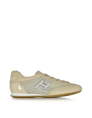 Olympia Nude Fabric and Leather Sneaker ho430216-024-00