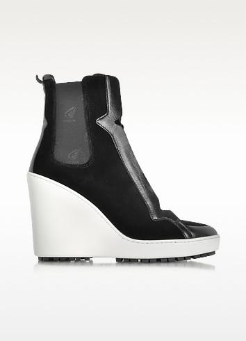 Black Velvet High-top Wedge Sneaker - Hogan