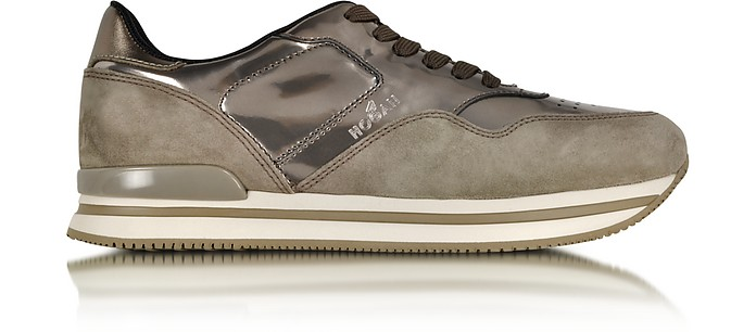 Taupe Suede and Metallic Effect Leather Sneakers - Hogan
