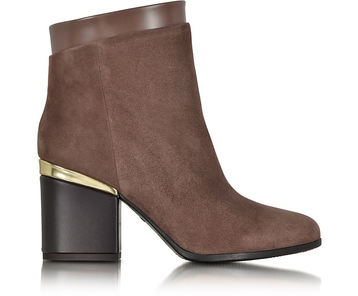 Brown Suede and Patent Leather Zip Ankle Boot - Hogan / ホーガン