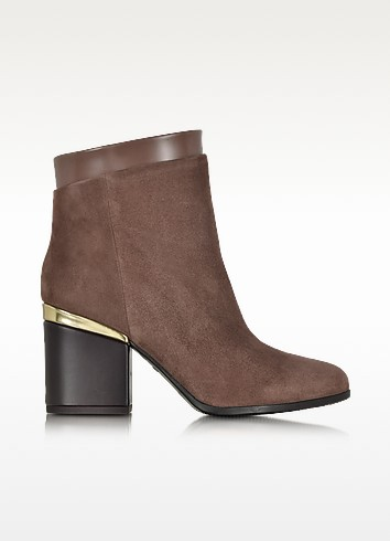 Brown Suede and Patent Leather Zip Ankle Boot - Hogan
