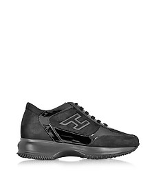 Interactive H Black Flock and Patent Leather Sneaker - Hogan