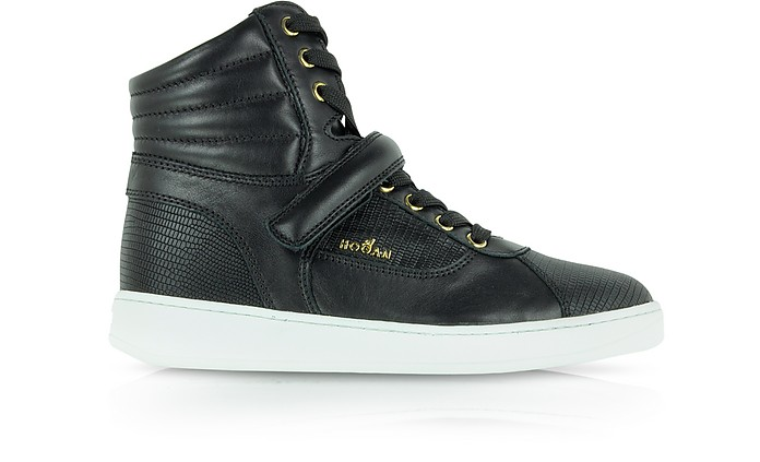 Black Leather High Top Sneaker - Hogan