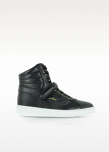 Black Leather High Top Sneaker - Hogan