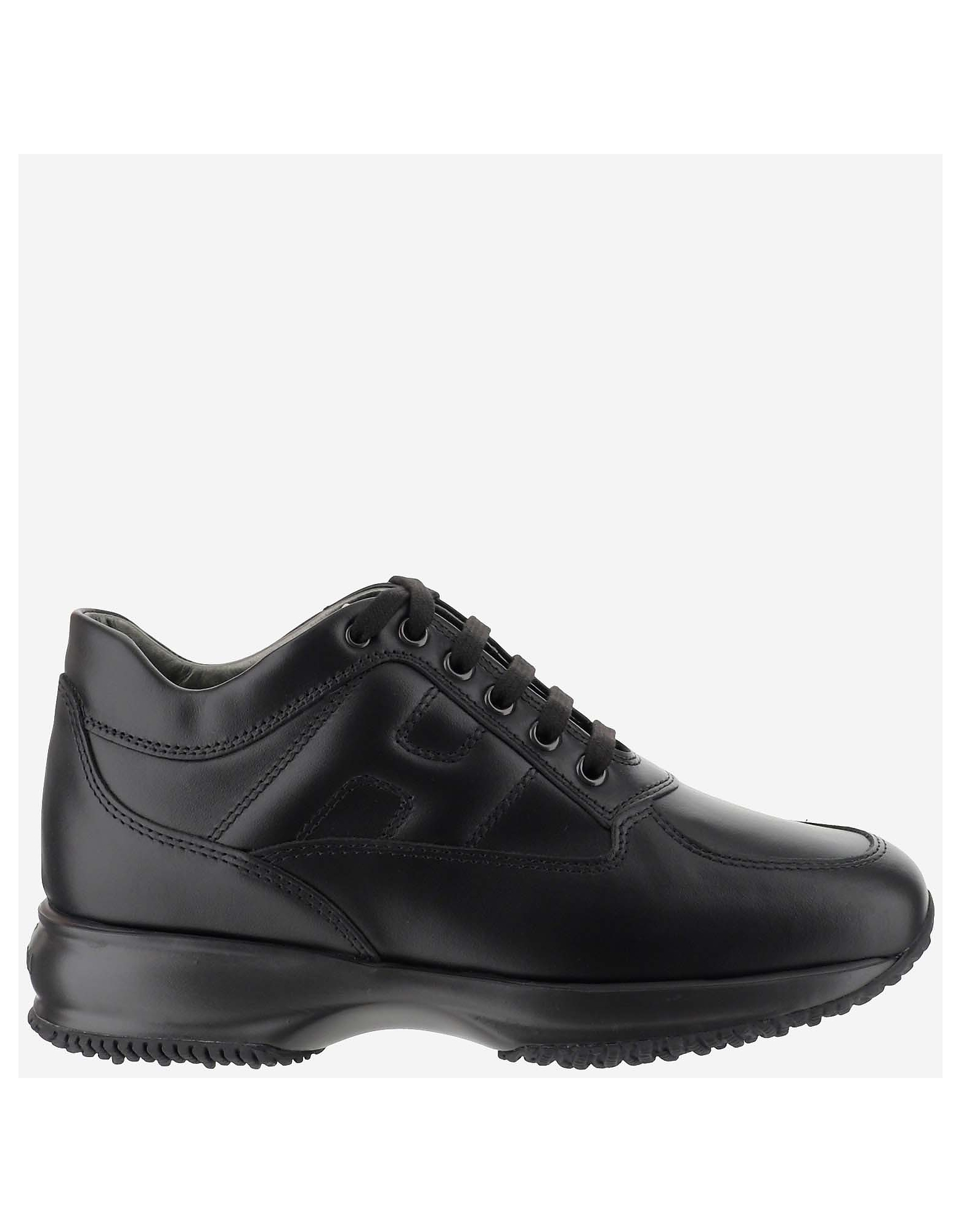 Hogan Designer Shoes, Black Interactive Leather Women's Sneakers