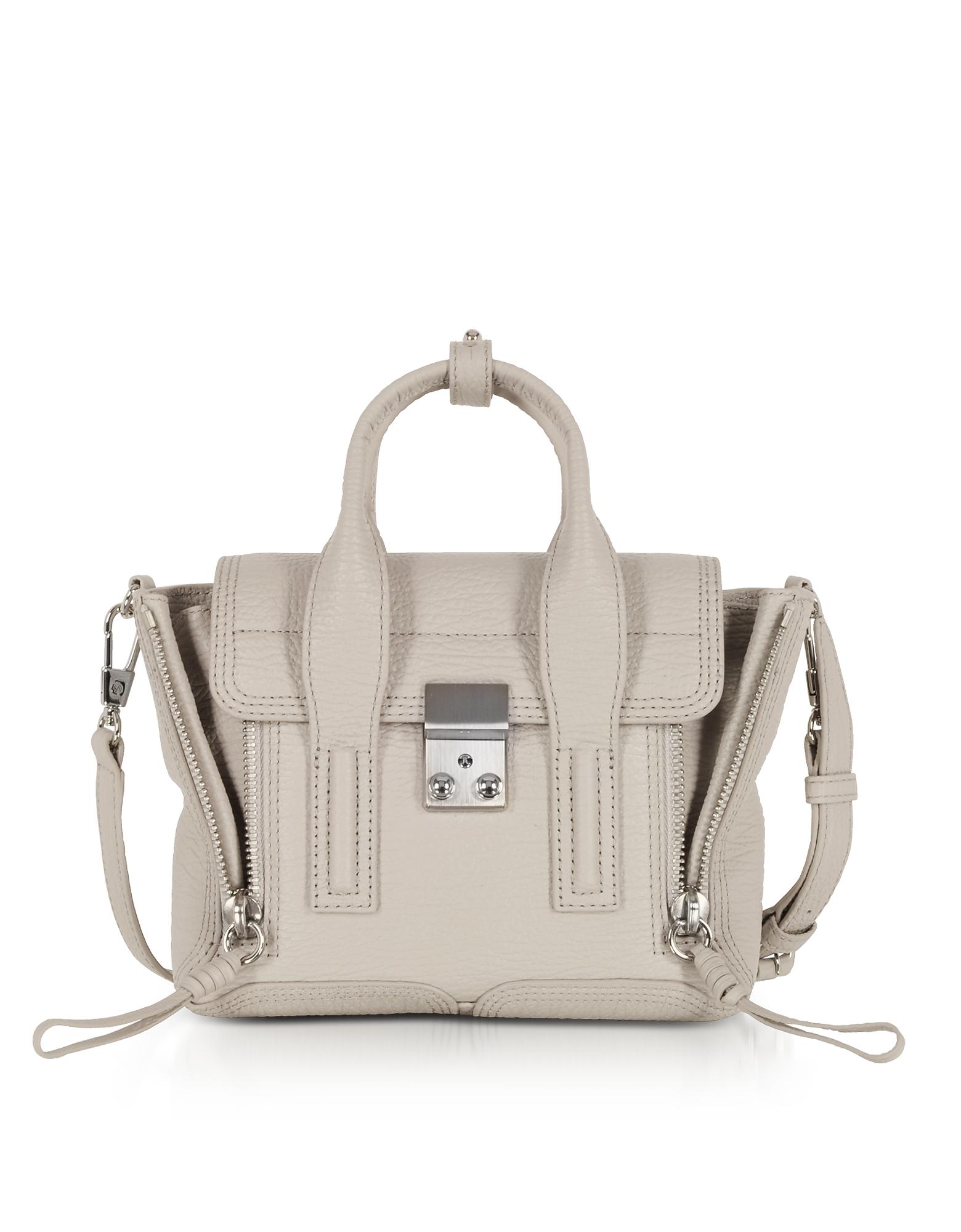 Feather Leather Pashli Mini Satchel Bag, Light gray